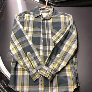 Charcoal & Yellow Button Up
